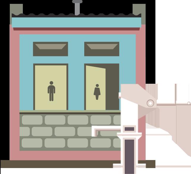 Trinkwasserbrunnen und Sanitaranlagen